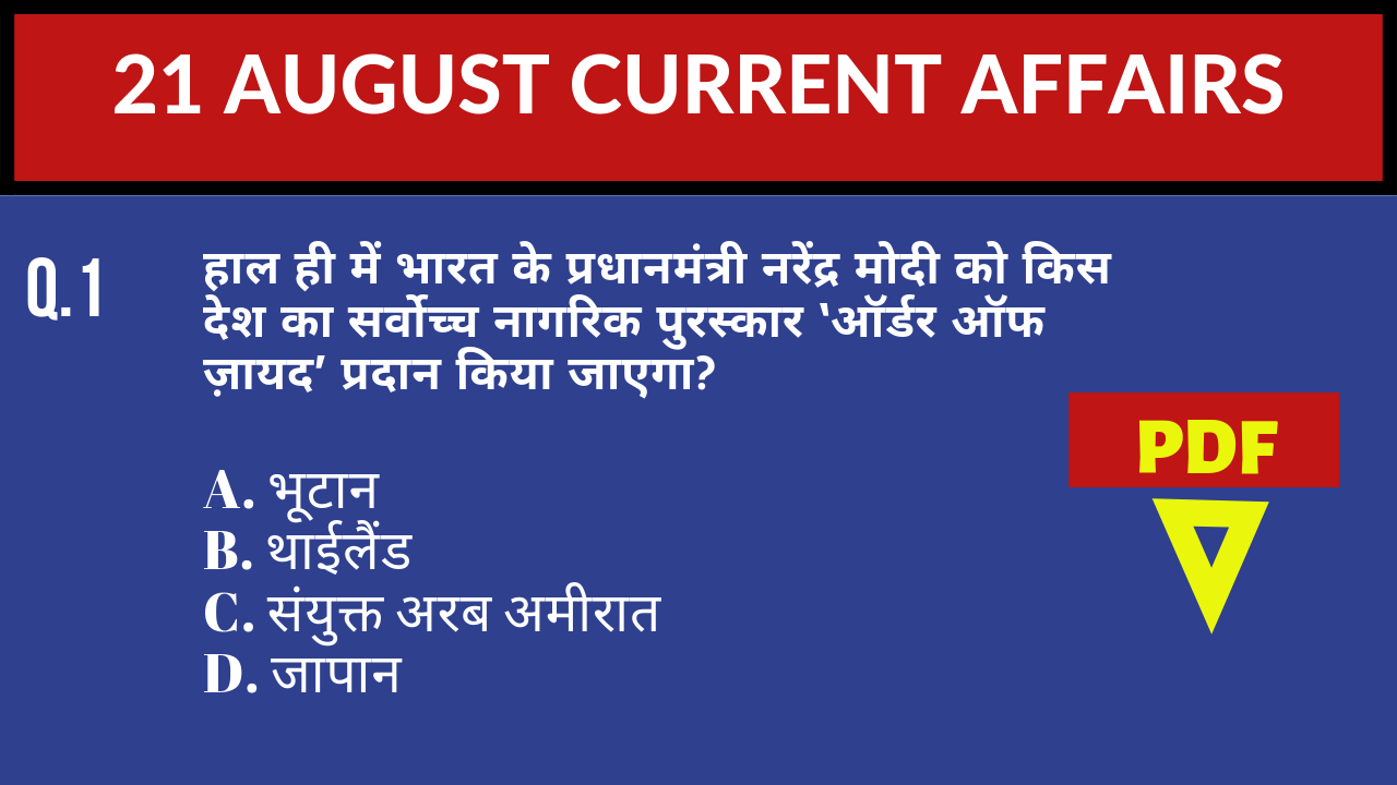 21 AUGUST 21 AUGUST 2019 CURRENT AFFAIRSCURRENT AFFAIRS