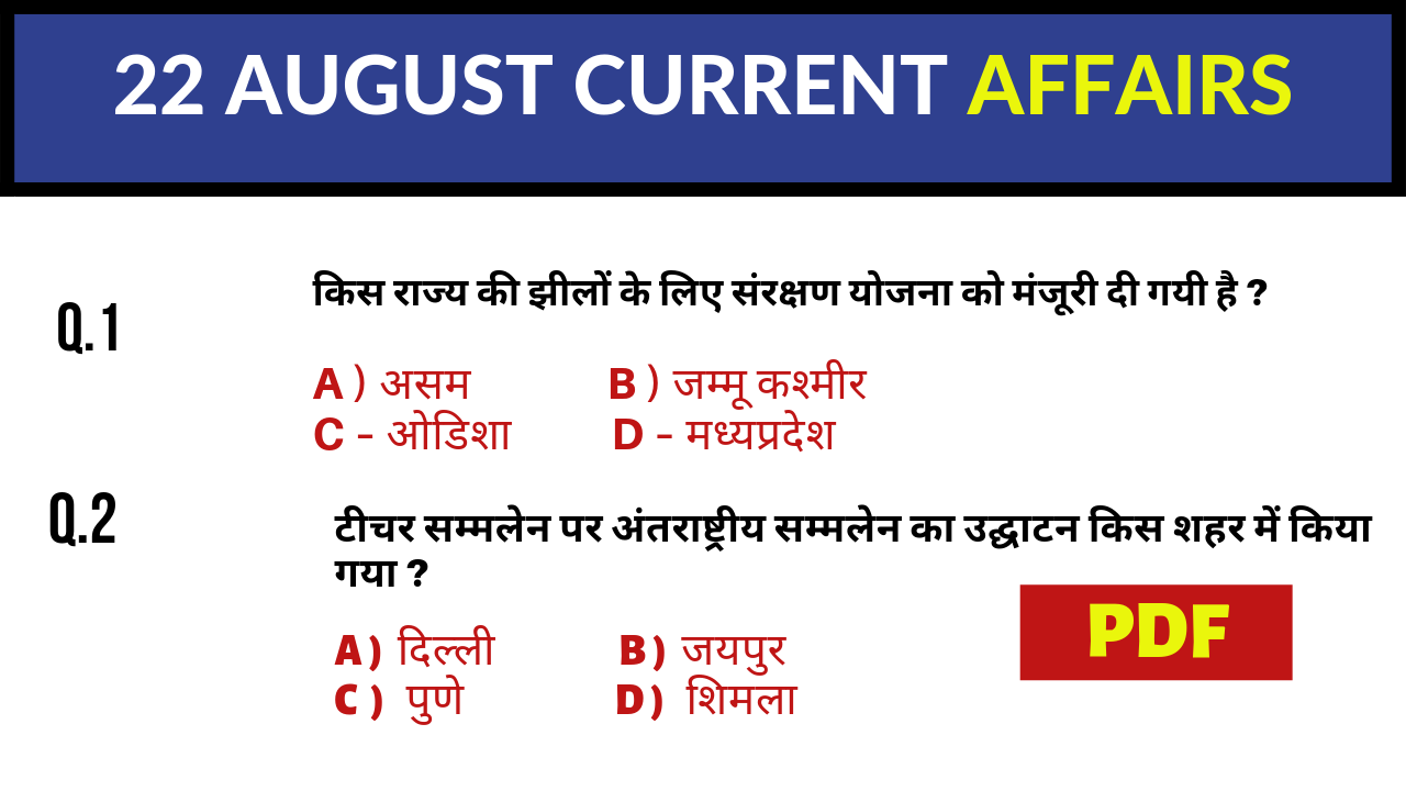 22 AUGUST 2019 CURRENT AFFAIRS