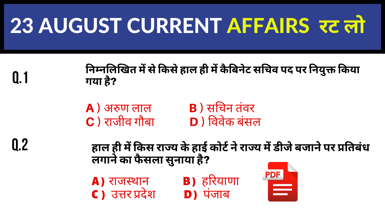 23 AUGUST 2019 CURRENT AFFAIRS